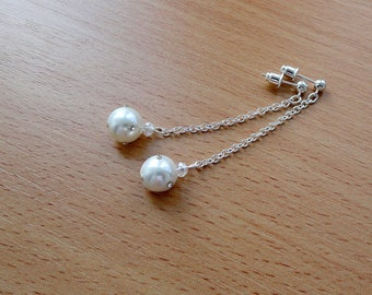 White pearls earring long silver chain minimal earrings dangle pearl bridal earring dangle white jewelry sparkly earrings swarovski pearls