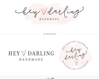 Watercolor & Rose Gold Branding Kit, Photography Logo, Blog Logo, Blog Header, Business Logo, Rose Gold Logo, Watercolor Logo, Branding
