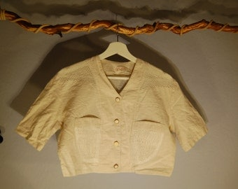 True vintage 80's short jacket shrug Bolero short sleeved linen network mesh spencers