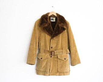 70s Mens Coat 1970s Faux Fur Corduroy Coat Jacket Outerwear Retro Mod Country Coat Mens William Barry Camel Winter Coat Medium