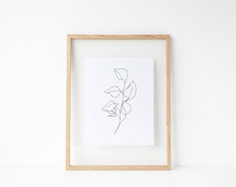 "Eucalyptus Line Drawing // 8x10"" or 8.5x11"" Botanical Print"
