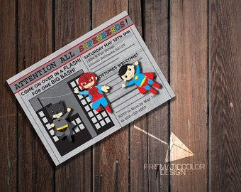 Superhero Newspaper Birthday Party Invitation with Superman Spiderman and Batman (DIGITAL FILE)