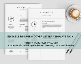 Law School Resumes Excel One Page Resume  Etsy Linkedin Resume Tips with What To Write In A Resume Pdf Minimalist Modern Man Resume One Page Resume  Covering Letter Edit In  Microsoft Word Professional Resume Writing Services Excel