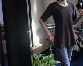 short sleeve scoop neck shirt / tunic- 100% hemp and organic cotton - hand dyed
