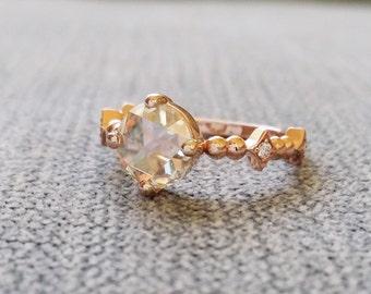 "Antique Rose Cut Moissanite Diamond Engagement Ring Victorian Renaissance Baroque Georgian Bohemian Classic 14K Gold "" The Charlemagne"""