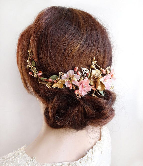 floral hair comb, floral hair piece, bridal hair vine, pink and gold headpiece, floral hair vine, bridal hair comb, pink bridal headpiece