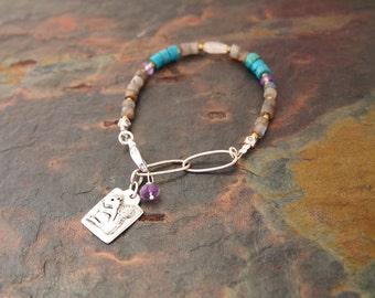 Labradorite, Turquoise and Amethyst Squirrel Bracelet
