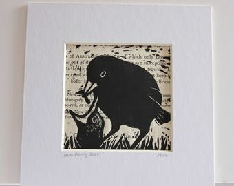 Blackbird feeding chick limited edition lino print