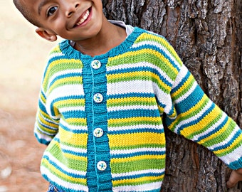 Children Clothing -- Boys Hand Knit Baby Cardigan -- JUNIPER STREET -- Lime Green, Yellow, Teal, and White -- Perfect for Baby Showers