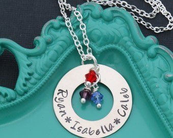 Birthstone Jewelry Mommy Birthstone Gift • Family Name Necklace Hand Stamped Necklace • Grandma Washer Necklace Eternity Circle