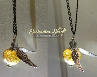 Golden Snitch Quiddich Harry Potter Inspired Necklace - Large! - SALE