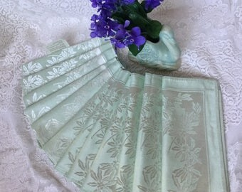 "12 Damask Napkins UnUsed Vintage Shimmering Ice Mint Green Napkin Set Floral Pattern Cotton Blend Dinner Napkins  20"" Square Easy Care"