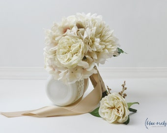 Wedding Bouquet, Silk Wedding Bouquet, Silk Flowers, Silk Flower Bouquet, Bridal Bouquet, Fall Bouquet, Rustic Wedding, Beige, Cream, Ivory