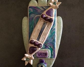 Ceramic Style Ace of Wands Tarot Card Hamsa, Feng Shui Art, Spiritual Art, Australian Seller