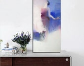 Abstract print, Blue canvas art, Contemporary print on canvas, Giclee print, Woman Painting Print