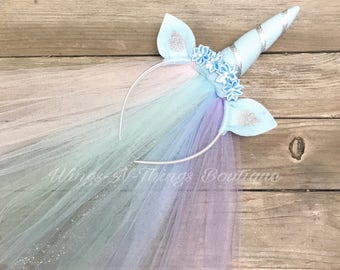 PASTEL UNICORN HEADBAND w/ tulle veil, Light Blue, Rainbow, Hair Accessory, Dress Up, Horn, Ears, Girls, Halloween, Toddler, Kids, Birthday