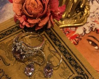 Sterling Art Nouveau Victorian Dangle Earrings Genuine Amethyst Solid 925 Sterling Silver Antique Style Drop Dangle Earrings