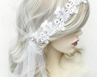Ivory wedding veil, Wedding veil, Juliet cap veil, bridal veil,  Ivory tulle veil, 1920s style veil, waist length veil,