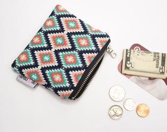 Stocking Stuffer Gift, Aztec Coin Pouch, Small Coin Purse, Money Pouch, Coin Bag, Small Zipper Bag, Small Zipper Pouch, Zipper Wallet