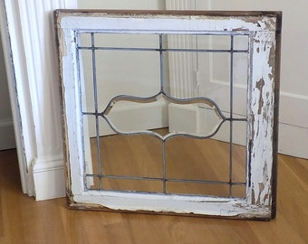 RARE! Quotation Bubble Antique Beveled & Lead Glass Window ~ Vintage Shabby Chic Chippy White Patina ~ French Cottage Architectural Salvage
