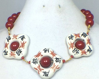 Red White Blue Gold Hand Painted Flowers and Chinese Symbol Beaded Necklace