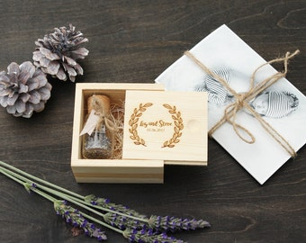 Custom Engraved Wooden Pine USB Box & USB Flash Drive of Your Choice Set - Wedding Photography USB Packaging