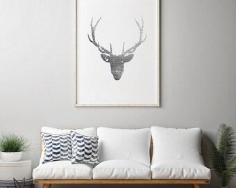 Deer prints, Minimalist Prints, Home Decor, deer poster, deer antler, deer head poster, deer head print, antler decor, deer antlers poster