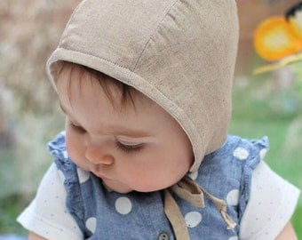 Organic baby clothes, Cute baby bonnet, Baby bonnet, Neutral baby clothes, Handmade baby bonnet, Baby boy, Baby girl, Baby hat