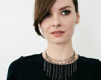 Fringe Chain Necklace, Layered Choker in Gunmetal: Diaspora