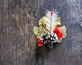 Vintage Christmas Pinecone and Foiled Leaf Corsage Boutonniere