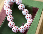 Vintage Large Hole Lucite White with Red Polka Dot Round Beads from West Germany