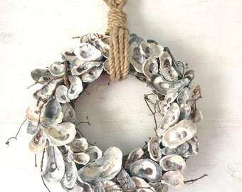 "18"" Oyster Shell Wreath, Oyster Wreath, Oyster Decor, Nautical Wreath, Beach Wreath Coastal Wreath,  Beach Decor, Coastal Decor, Rope Wreath"
