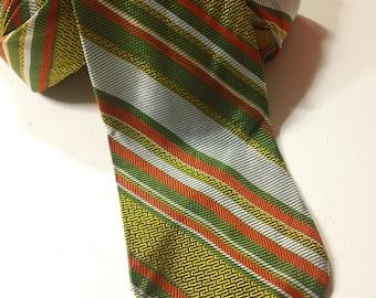 Vintage 1970s Orange, Green, Yellow and Silver Diagonal Stripe  Menswear Necktie ~ Men's Retro Hipster Fashion Accessory