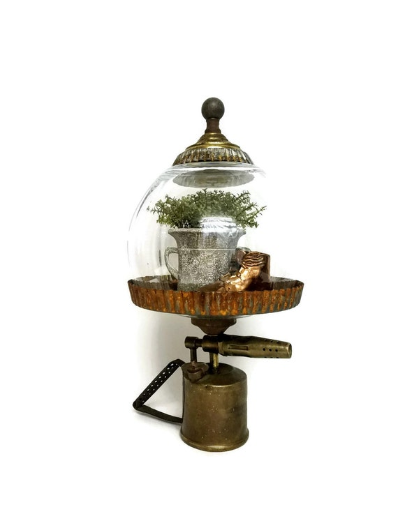 """Large Round Glass Cloche Dome Antique Brass BlowTorch Base Embellished Dome Industrial Steampunk-""""Ships International"""" Email For Rates"""