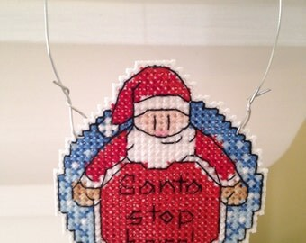 New Santa Stop Here Christmas Cross Stitch Ornament