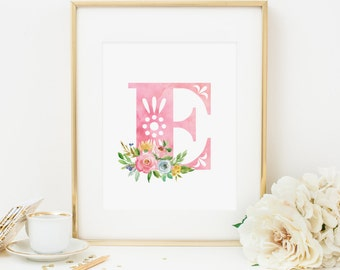 Initial Printable Letter E Nursery Monogram Print Nursery Letters Spring Floral Initial Print Pink Initial Wall Art Pink Flowers Girl 233