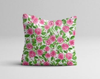 Watercolor Throw Pillow Cover - Pink Rose Floral Throw Pillow Case Home Decor - Watercolor Flower Pillow Case Hypoallergenic 16x16 | 20x20