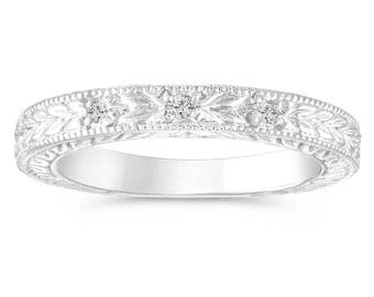 0.05 Carat Diamond Wedding Band, Anniversary Ring Vintage Antique Style Engraved 14K White Gold Handmade