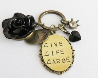 Live Life Large keychain, personalized keychains, quotes and sayings, gift for her, free shipping, inspirational gift, black keyring
