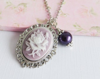 Purple floral necklace, charm necklaces, romantic jewelry, gift for her, purple jewelry, spring and summer jewelry