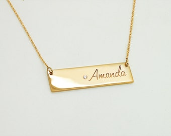 Bar Necklace with Birthstone - Gold Bar Necklace - 14K Solid Gold Jewelry - Custom Necklace