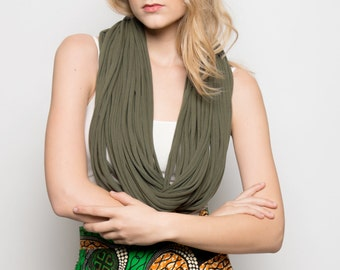 Long necklace, infinity scarf, gifts for women, unisex scarf - The noodle scarf - in moss green jersey cotton fabric