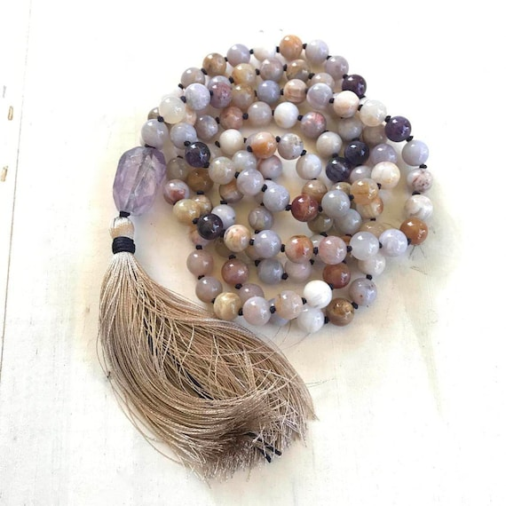 Mala Beads For Grounding and Centering, Mala For Calming Fears, Amethyst Mala Necklace, Agate Mala, Mala Beads 108, Yoga Prayer Beads