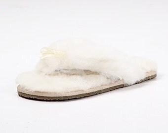 Cream flip flop sheepskin slippers