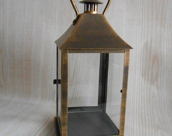 Vintage Lantern,  Rustic Lighting,  Antique Brass Lantern, Candle Holder, Home Decor
