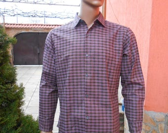 Plaid Men's Shirt, Long Sleeve Shirt, Brown Purple Plaid Shirt, Men's Vintage Plaid Shirt