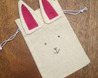 Bunny Bag - Bunny Drawstring Bag - Easter Bag - Rabbit Bag