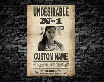 Custom Harry Potter Print - Undesirable No. 1 Custom Photo and Name - Harry Potter Gift - Harry Potter Wall Art - Harry Potter Decor