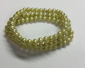 Honora Triple Strand Stretch Yellow/green Hint Pearl Bracelet Sterling