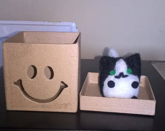 Cute little needle felted kitty, want to share my box?